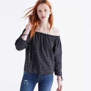 Madewell Black Plaid Off The Shoulder Top Large